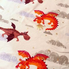 Dragons on Cotton Elastane Jersey Fabric, 1.5m wide, by the 0.5m  | eBay