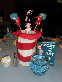 Cat In The Hat Centerpiece, Storybook Theme Baby Shower