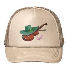 St. Patricks Day Hat & Violin Trucker Hat by #MoonDreamsMusic #TruckerHat #HatAndViolin #StPatricksDay
