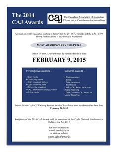 Poster for 2014 CAJ Awards | CAJ