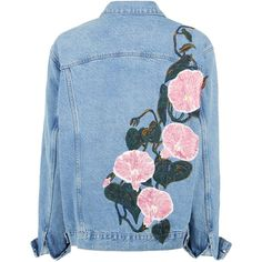 """WEEDY"" SILK RIBBON EMBROIDERD DENIM JACKET (7.280 BRL) ❤ liked on Polyvore featuring outerwear, jackets, tops, oversized jean jacket, silk jacket, embroidered jean jacket, embroidered denim jacket and silk embroidered jacket"