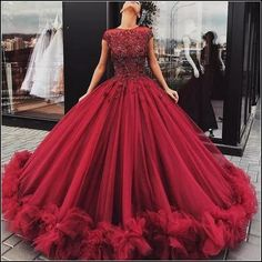 Prom Dress Princess, Tulle Appliques Red Wedding Dress, Cap Sleeve Ball Gown Wedding Dresses, Sexy Bridal Dress Shop ball gown prom dresses and gowns and become a princess on prom night. prom ball gowns in every size, from juniors to plus size. Red Wedding Dresses, Prom Dresses With Sleeves, Tulle Prom Dress, Gown Wedding, Tulle Wedding, Homecoming Dresses, Poofy Prom Dresses, Evening Gowns With Sleeves, Tulle Ball Gown