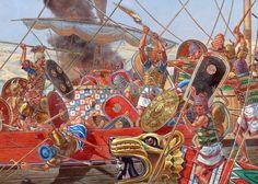 IGOR DZIS BATTLE PAINTING: Battle on the Nile Delta 1191 BC ~ Egyptians on the right battle Sea People's warriors on the left.
