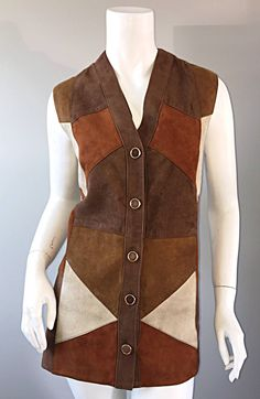 Made in Italy Rare 60s 70s Suede Leather Patchwork Vest for Macy's Associates 2