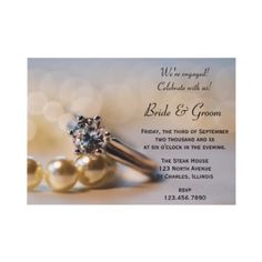 http://www.zazzle.com/loraseverson*  He proposed and you accepted! You are now engaged to be married and it's time to celebrate.  Invite your friends and family to an engagement party honoring the bride and groom to be with the elegant Diamond Ring and Pearls #Engagement #Party #Invitation . Feel free to change the text, font or paper type to suit your event needs. This classy custom engagement party invite features a photograph of a diamond engagement ring and white pearl necklace. #wedding