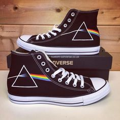 Pink Floyd Dark Side of the Moon High Top Converse Vans Customisées, Vans Shoes, Converse Shoes High Top, Women's Converse, Shoes High Tops, Womens Converse High Tops, Custom Converse Shoes, Converse Outfits, White Converse