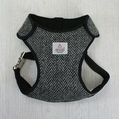 Grey Herringbone Harris Tweed Adjustable Dog Harness - pet clothes & accessories
