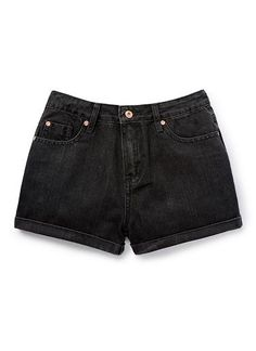 100% Cotton Short. Denim short with fly front, and 5 pockets. High waisted with rolled hem. Regular fit, available in Indigo & Black.