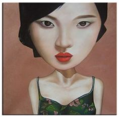 Girl With Red Lipstick I - Oil Canvas - 100 x 100cm