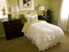 Green!  http://www.design-decor-staging.com/blog/wp-content/uploads/2011/03/brown-green-color-schemes-bedroom-decorating-ideas.gif