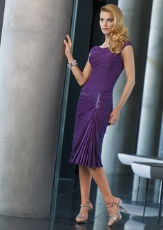 Discount Refined Cap Style V-neck Beadings Crumples Tea Length Chiffon Made Dress for Bridal Mother (2012MBD-042) Online