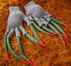 witch hands made from old gloves and dried okra pods