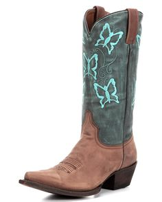 The Leah Boot by Eight Second Angel gives life to your whimsy with beautiful style. Embroidered turquoise butterflies flutter about the green upper, while the foot is crafted from stunning saddle leather. Contrast pull straps at top add a perfect sense of balance.