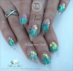 Translucent Nails with Glittery Teal Shimmer. Fabulous Nails, Gorgeous Nails, Stiletto Nails, Glitter Nails, Cute Nails, Pretty Nails, Hair And Nails, My Nails, Luminous Nails