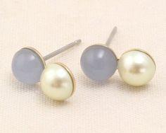 Luccica 斯文款小甜點珍珠粉藍珊瑚 耳環 (包平郵)