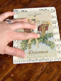 Vintage sheet music for handmade Christmas cards