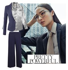"""Pretty Powerful #suit up"" by faheemak ❤ liked on Polyvore featuring Yves Saint Laurent, LE3NO and MSGM"