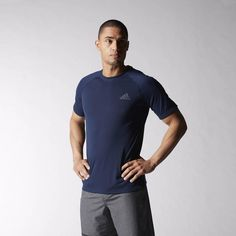 Serious training requires workout gear that performs. This men's crewneck t-shirt is made of lightweight and silky polyester single jersey with climalite® to sweep sweat away from your skin. It's cut to fit close to the body for maximum efficiency and ease of movement.