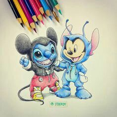 Stich and mickey mouse Disney Stitch, Lilo Y Stitch, Lilo And Stitch Drawings, Cute Stitch, Disney Amor, Disney Pixar, Disney Characters, Disney Movies, Walt Disney