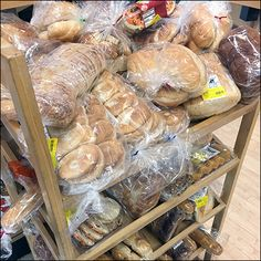 Mix-or-match seems the major theme for this Bakery-Assortment Declined Wood Rack. A downward cant increases visibility. Retail Fixtures, Wood Rack, Breakfast Bake, Natural Wood, Baked Goods, Bakery, Food, Meal, Wood Mantel Shelf