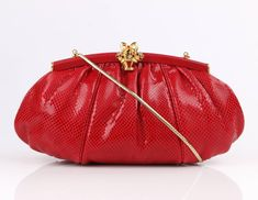JUDITH LEIBER c.1980's Red Lizard Skin Leather Frame Top Evening Bag Purse | From a collection of rare vintage evening bags and minaudières at https://www.1stdibs.com/fashion/handbags-purses-bags/evening-bags-minaudieres/