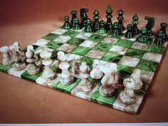 Beautifully crafted alabaster chess set, green/grey chess board, 3 King Specifications: King Height: 3 King Base: 1 Square Size: 1 Length: 14 Width: 14 Height: Weight: 9 lb Manufacturer: Scali Country of Origin: Italy Dimensions 14 x 14 x Diy Chess Set, Chess Set Unique, Chess Sets, How To Play Chess, Chess Table, Set Game, Kings Game, Chess Pieces, Glazes For Pottery