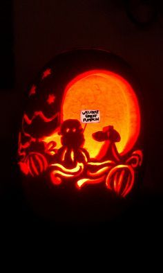 I love Halloween! A freshly carved scene from 'It's the Great Pumpkin, Charlie Brown' is backlit by an interior candle. Features Sally, Linus, and Snoopy.