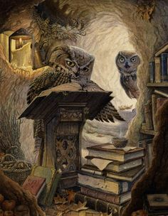Autumn Scribe by Chris Dunn.  A great horned owl, hard at work in his treetop study. His mate calls from the passageway but he is too engrossed to hear.