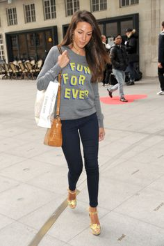 Celebrity Street Style Picture Description Michelle Keegan wearing a graphic sweatshirt, skinny jeans, and platform Cool Outfits, Summer Outfits, Casual Outfits, Fashion Outfits, Womens Fashion, Winter Outfits, Michelle Kegan, Michelle Keegan Style, Celebrity Style Casual