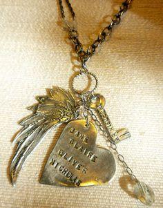 Fine silver heart wing and key talisman necklace by URLovedJewelry, $165.00