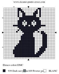 design cross-stitch black kitten