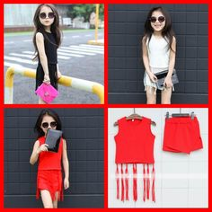 2015 New Fashion Cute Kid Girls Summer Tassel Tops And Asymmetric Skirts Outfits Multi Color Stylish Design Sweet Casual Party Clothing Online with $7.52/Piece on Smartmart's Store | DHgate.com