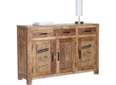 Tato trendy komoda z masívního dřeva Mango má kouřový vzhed, se 3 dveřmi a 3 zásuvkami. Na dvířkách moderní potisk určitě upoutá. Dveře jsou obojstranně montovatelné. Š/V/H: 130x86x42 cm