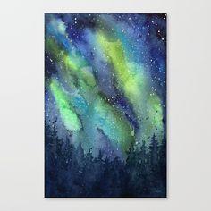 Galaxy Aurora Northern Lights Nebula Space Watercolor Mini Art Print by olechka Space Watercolor, Watercolor Canvas, Watercolor Pictures, Canvas Prints, Art Prints, Diy Frame, Cool Art, Northern Lights, Gallery Wall