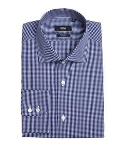 Hugo Boss Hugo Boss navy plaid stretch cotton spread collar dress shirt