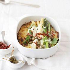 Spargel-Kartoffel-Gratin mit Büffel-Mozzarella Rezept - [LIVING AT HOME]