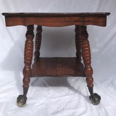 Antique Oak Wood PARLOR TABLE w Glass Ball & Claw Foot w Shelf