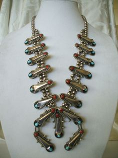 Magnificent Vintage Navajo TURQUOISE & CORAL Sterling Silver Squash Blossom Necklace.  TurquoiseKachina, $1159.00