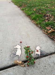 If you need a little bit of beauty and coziness, street art by David Zinn is absolutely for you. 18 examples of winter street art by street artist David Zinn. 3d Street Art, Street Art Graffiti, New York Graffiti, Urban Street Art, Amazing Street Art, Street Artists, Urban Art, Graffiti Artists, David Zinn