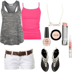 Hot pink & gray - with longer shorts.  ;)