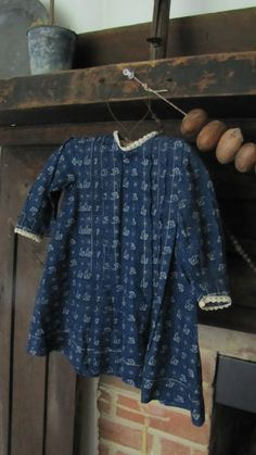 Small 19th C Early Old Antique Blue Calico Doll Textile Dress | eBay