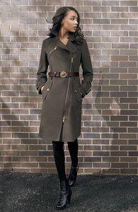 $1295 Burberry London Asymmetric Zip Millitary Style Wool Coat Camoflage
