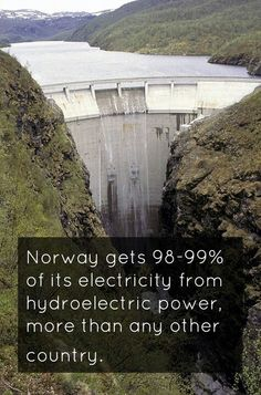 Norway fact.  Did you know that Norway gets 98-99% of its elecricity from hydroelectric power? That's more than any other country!