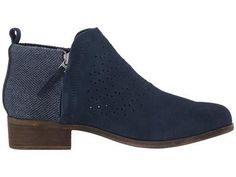 Toms Deia Booties in Navy Suede Perforated