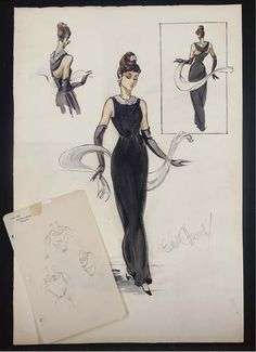 Edith Head's sketch for Audrey Hepburn in Breakfast At Tiffany's, 1961