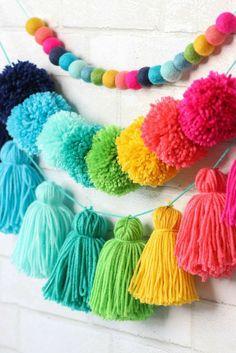 Pom Pom Crafts, Yarn Crafts, Home Crafts, Diy And Crafts, Crafts For Kids, Arts And Crafts, Preschool Crafts, Diy Party Crafts, Creative Crafts