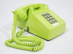 Vintage Phone chartreuse push button telephone by ohiopicker, $58.00