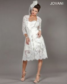 #Jovani style 1607 features a lace overcoat that is perfect for an early spring engagement party. http://www.jovani.com/wedding-dresses/1607-110763