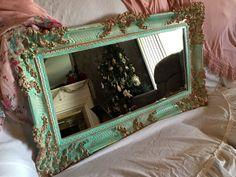 Shabby Chic Vintage Large Mirror by TiffinyBrooks on Etsy