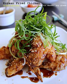Food with Love: Korean Fried Chicken with garlic wasabi soy glaze Korean Fried Chicken, Fried Chicken Recipes, Chicken Meals, Korean Dishes, Korean Food, Asian Recipes, Healthy Recipes, Healthy Food, Asian Foods